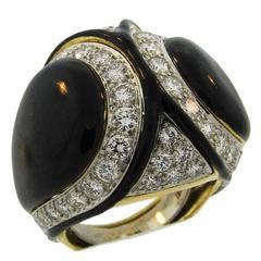 1980s David Webb Black Enamel Diamond Gold Ring