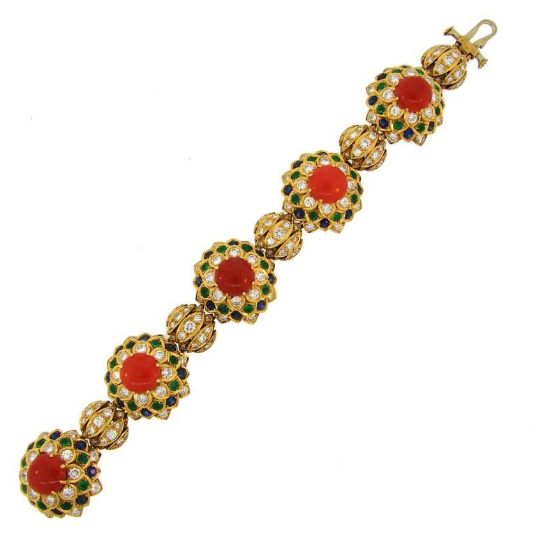1950s Cartier Coral Diamond Sapphire Emerald Gold Bracelet