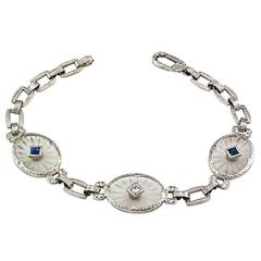 Art Deco Rock Crystal Sapphire Diamond Gold Bracelet