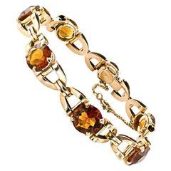1940s Retro Madeira Citrine Gold Link Bracelet