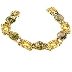1900s Art Nouveau Moss Agate Gold Bracelet