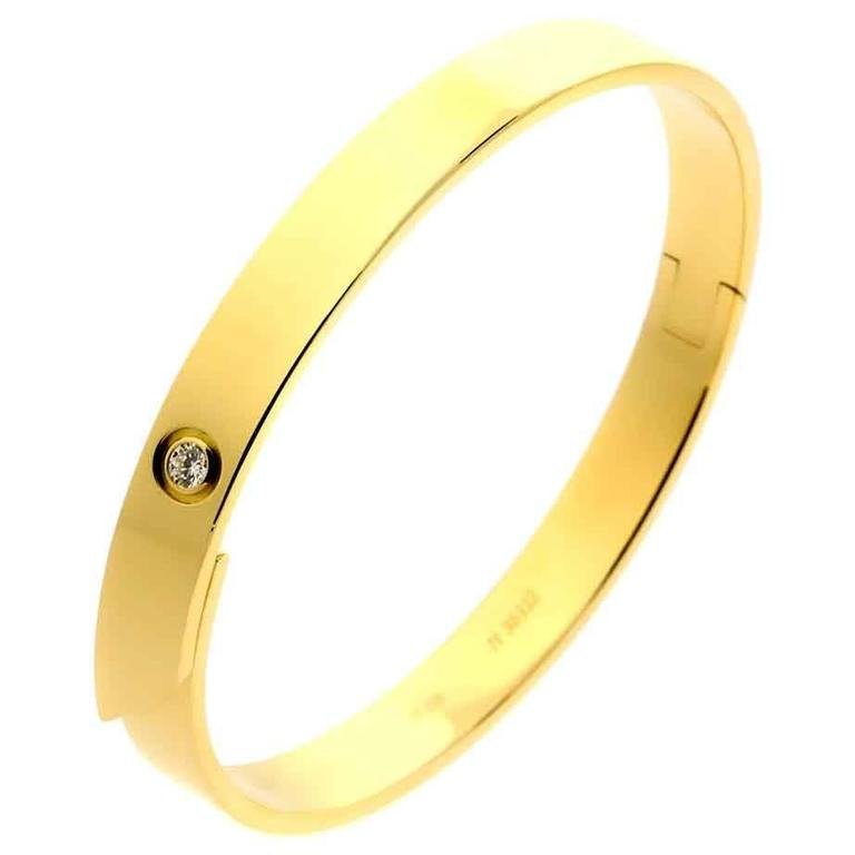 Cartier Anniversary Diamond Gold Bangle Bracelet For