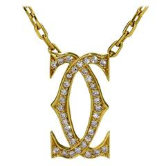 Cartier Double C Diamond Gold Necklace