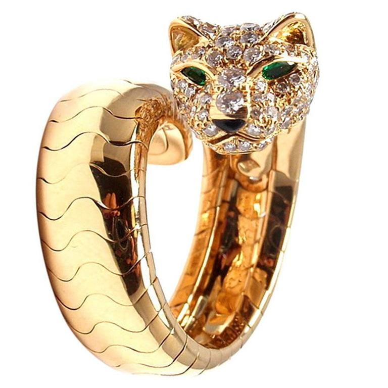 Cartier Onyx Emerald Diamond Gold Panther Ring 1