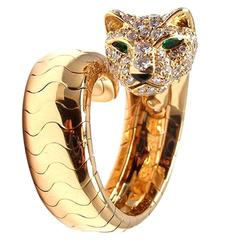 Cartier Onyx Emerald Diamond Gold Panther Ring