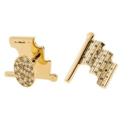 Black and White Diamond Gold Monaco GP Cufflinks