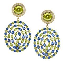 Peridot Sapphire Gold Plima Earrings