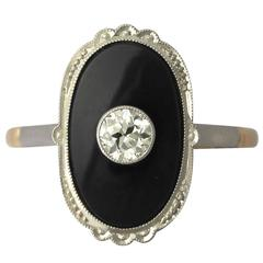 Art Deco Style Onyx and 0.38 ct Diamond, 12k Yellow Gold Dress Ring