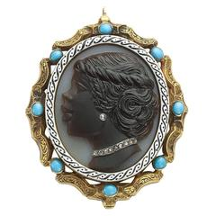 Hard Stone Cameo Turquoise Diamond Gold Pendant