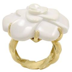 Chanel White Agate Gold Camellia Ring