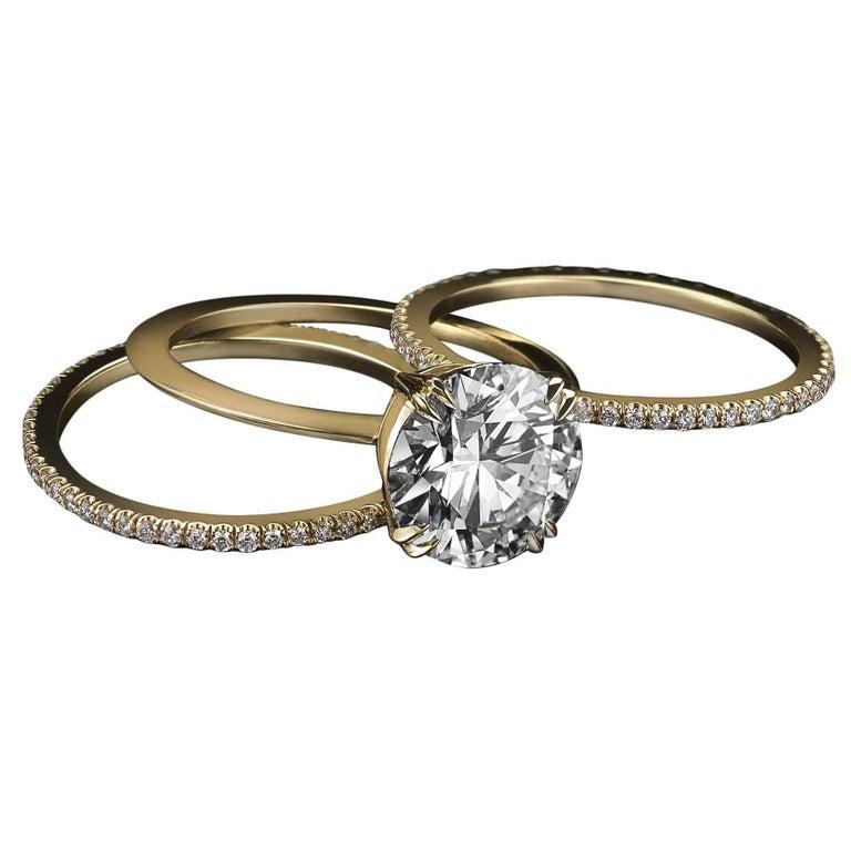 Alexandra Mor 1.50 Carat GIA Certified Diamond Centre Engagement Three-Ring Set For Sale