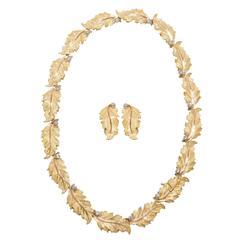 Buccellati Diamond Gold Leaves Garland Set