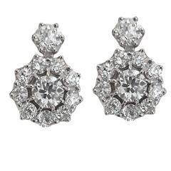 Outstanding 5.70 Carat Old Mine-Cut Diamond Gold Cluster Earrings