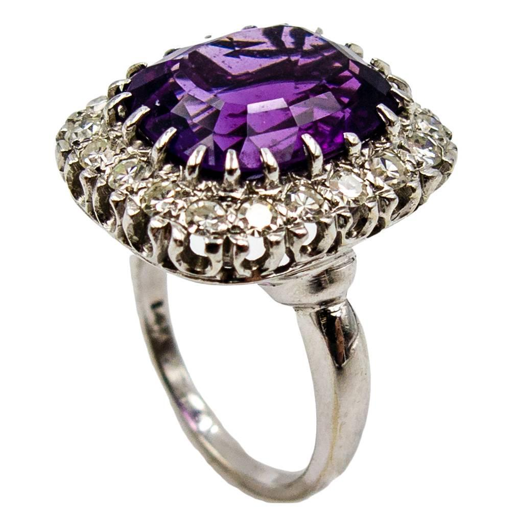 Regal Purple Amethyst Diamond Gold Cluster Ring For Sale
