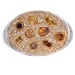 Hans D. Krieger 18 karat Yellow and White Gold with Colored Diamonds Oval Ring