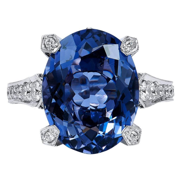 Handmade 7.89 Carat Iolite and Diamond 18 Karat White Gold Ring For Sale