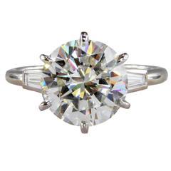 Cartier 4.07 Carat GIA Cert Diamond Platinum Engagement Ring