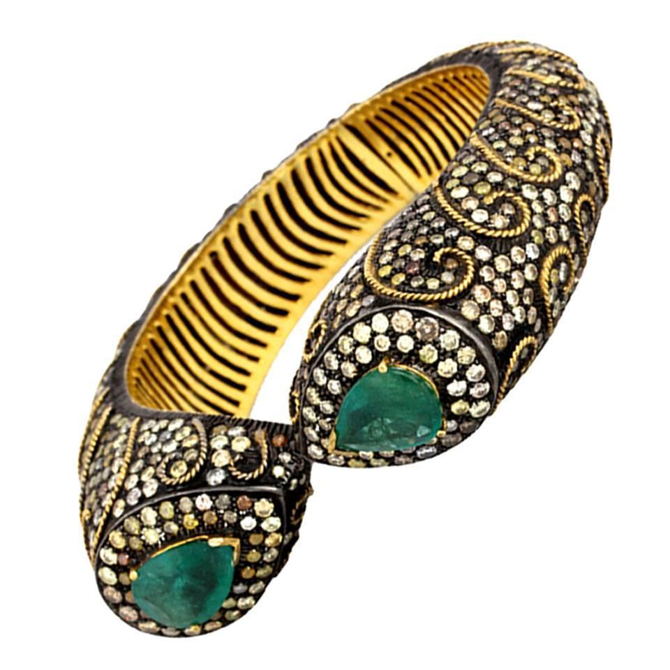 Emerald Diamond Silver Gold Bangle Bracelet