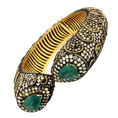 Emerald Diamond Silver Gold Bangle Bracelet