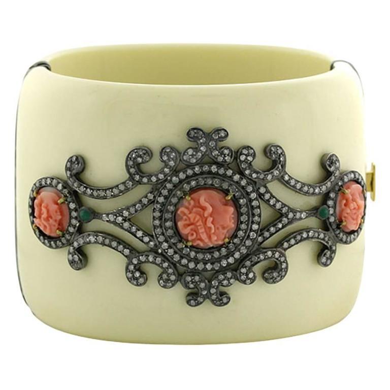 Coral Diamond White Bakelite Cuff Bracelet