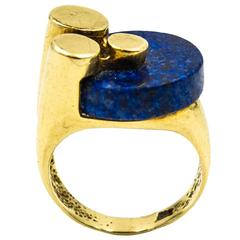 1970s Unusual Geometric Lapis Gold Ring