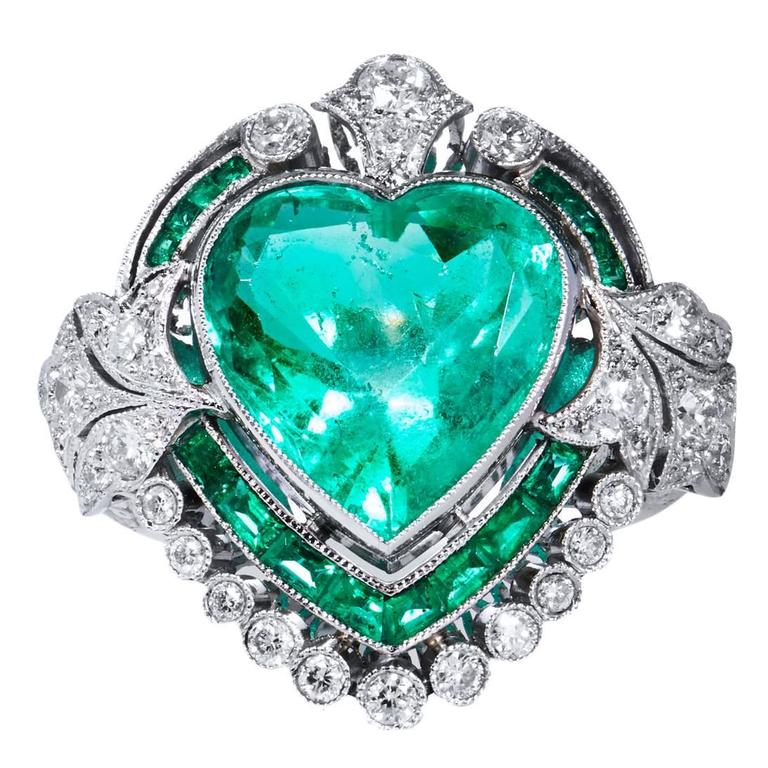 5.87 Carat Heart Shaped Colombian Emerald Diamond Platinum Ring For Sale