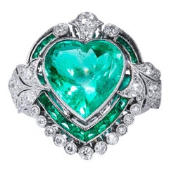 Art Deco 5.87 Carat Heart Shaped Colombian Emerald and Diamond Platinum Ring