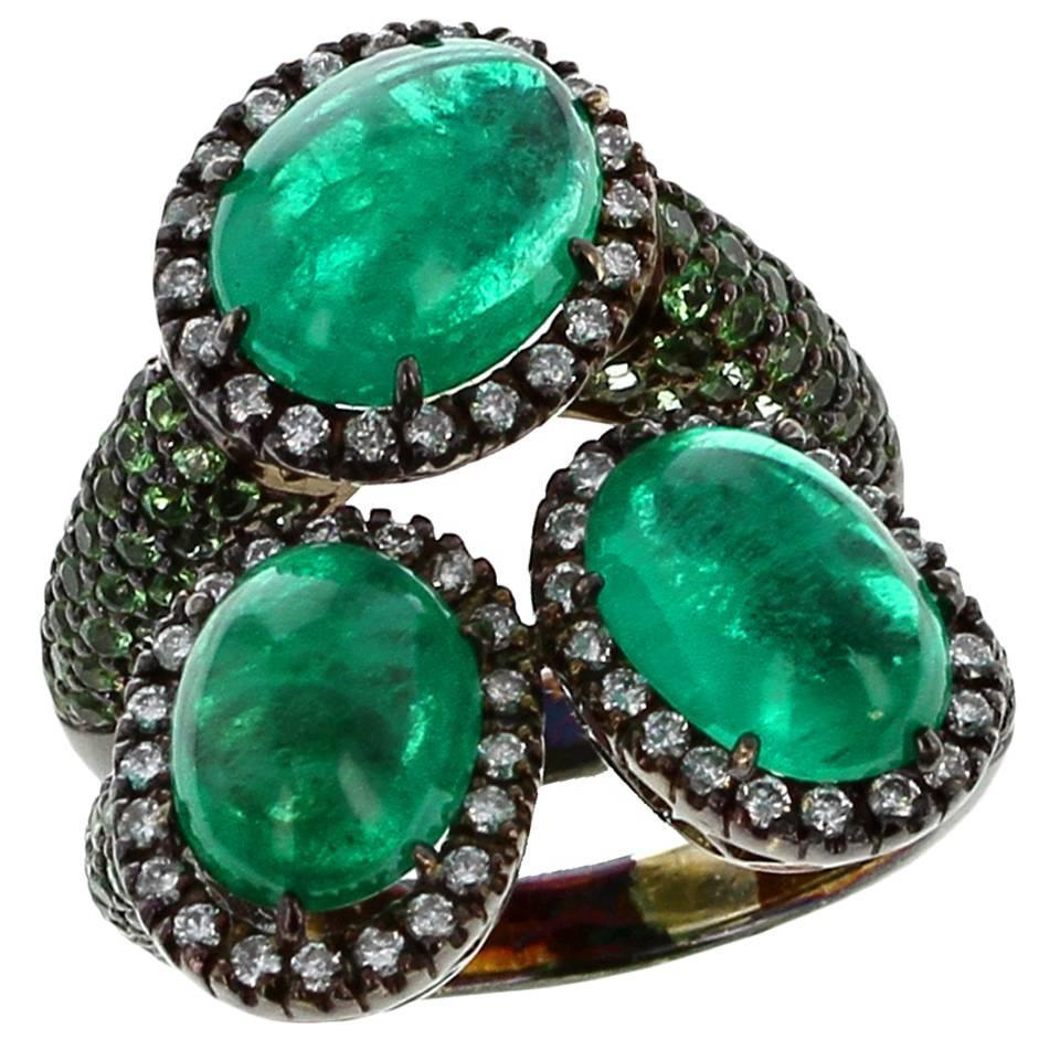 oval emerald oxidized gold rings for sale at 1stdibs