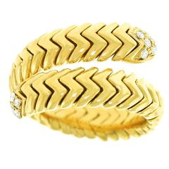 "Bulgari ""Spiga"" Diamond-Set Snake Ring"