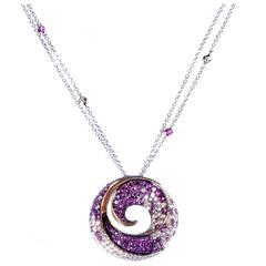 Miiori Pink Sapphire Diamond Multi-Color Gold Pendant Necklace