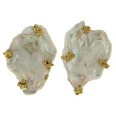 Paula Crevoshay Handcrafted Pearl Gold Earrings