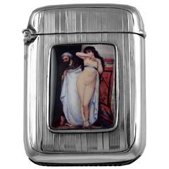 Antique Nude Sterling Silver and Erotica Enamel Vesta