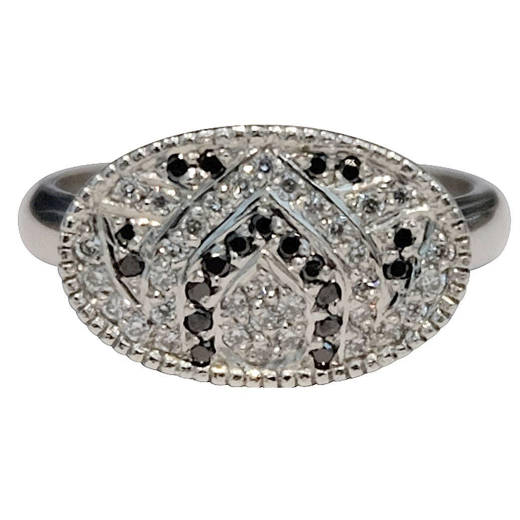 luca jouel black and white platinum ring for sale