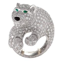 Cartier Paris Late 20th Century Diamond Onyx Emerald Platinum Panthère Ring