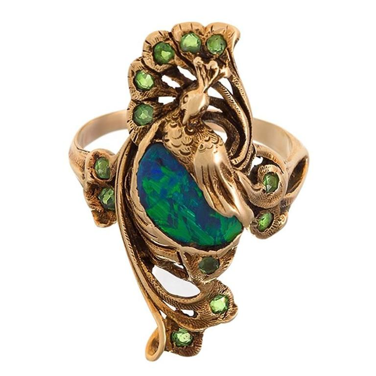 Art Nouveau Gold Ring with Black Opal and Demantoid Garnets by Walton & Co.