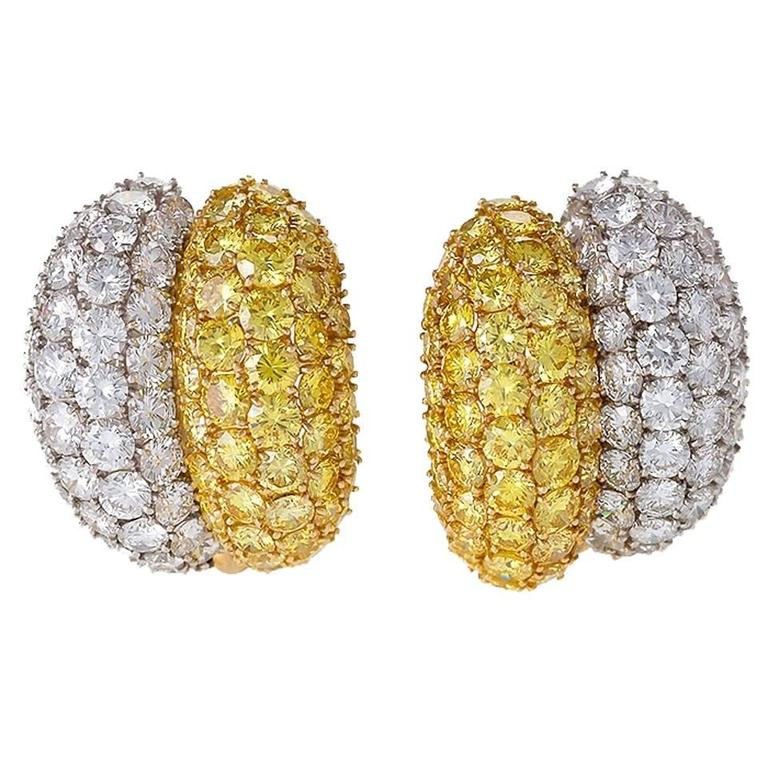 Van Cleef & Arpels White and Natural Fancy Vivid Diamond Earrings For Sale
