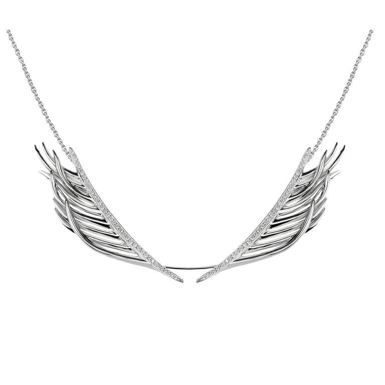 Shaun Leane Diamond Silver Feather Necklace