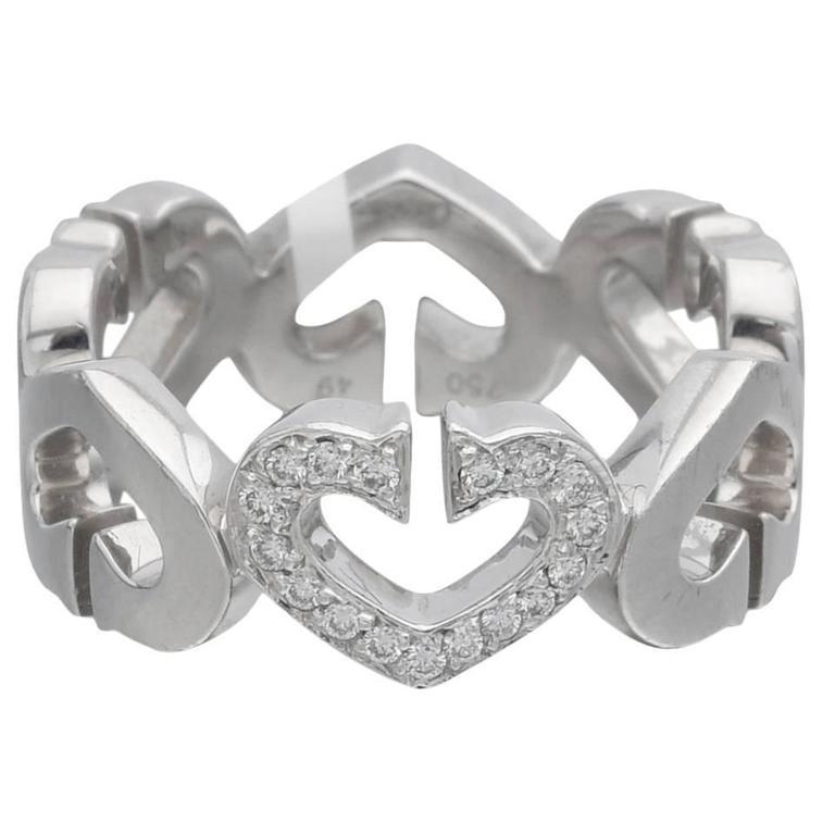 "Cartier Diamond Gold ""C Heart of Cartier"" Band Ring"