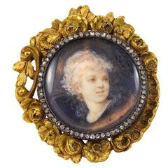 Boucheron Diamond Gold Portrait Brooch