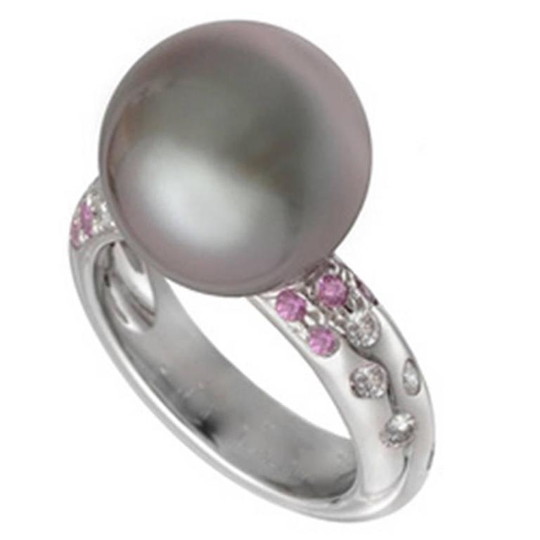 Cartier Tahitian Black Pearl Pink Sapphire Diamond Gold Ring