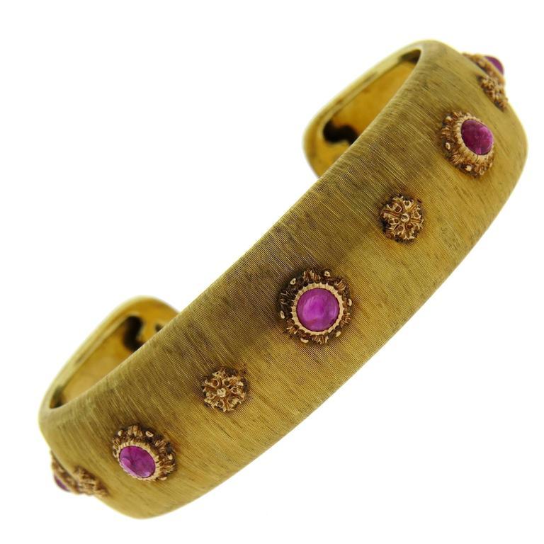 Buccellati Ruby Gold Cuff Bracelet