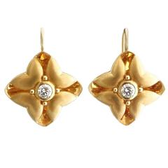 Sophisticated Modern Floral Diamond Gold Drop Earrings
