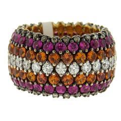 Marco Valente Sapphire Diamond Gold Flexible Band Ring