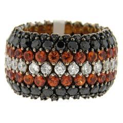 Marco Valente Sapphire Black and White Diamond Flexible Band Ring