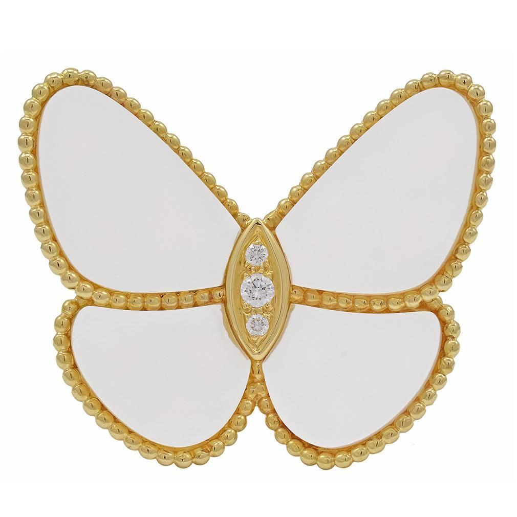 Van Cleef and Arpels Mother-of-Pearl Gold Butterfly Clip ...