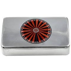 Antique Enamel Sterling Roulette Wheel Box