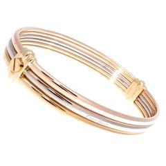 Cartier Exclusive Tricolor Gold Screw Bangle Bracelet