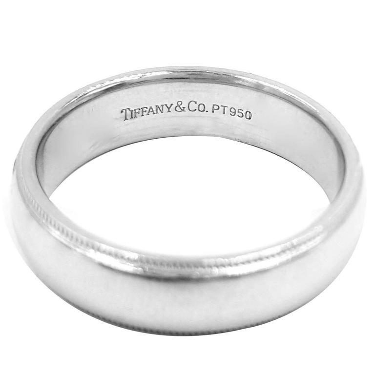 Tiffany And Co Mens Double Edged Milgrain Platinum Wedding Band Ring At 1stdibs