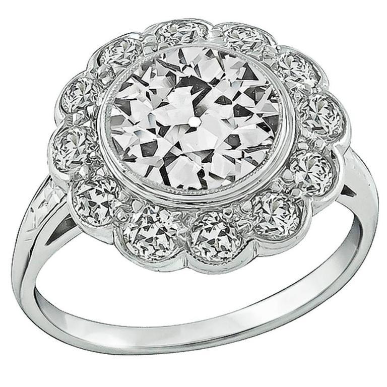 Amazing 2.24 Carat GIA Cert Diamond Gold Engagement Ring