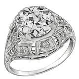 Antique 2.54 Carat Old Mine Cut Diamond Platinum Engagement Ring